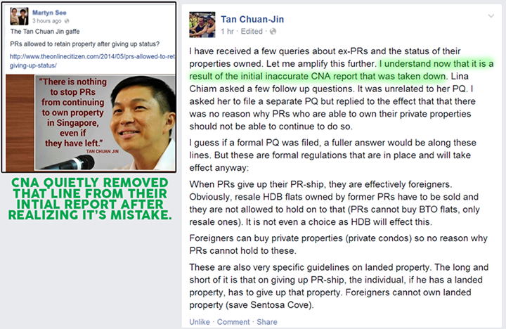 Tan Chuan Jin on PR having HDB flat