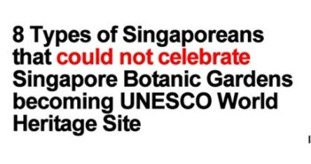 8 Types of Singaporeans that could not celebrate Singapore Botanic Gardens Becoming UNESCO World Heritage Site