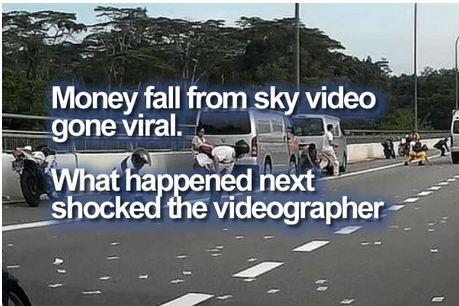 Money fall from sky viral video - What happened next shocked the videographer