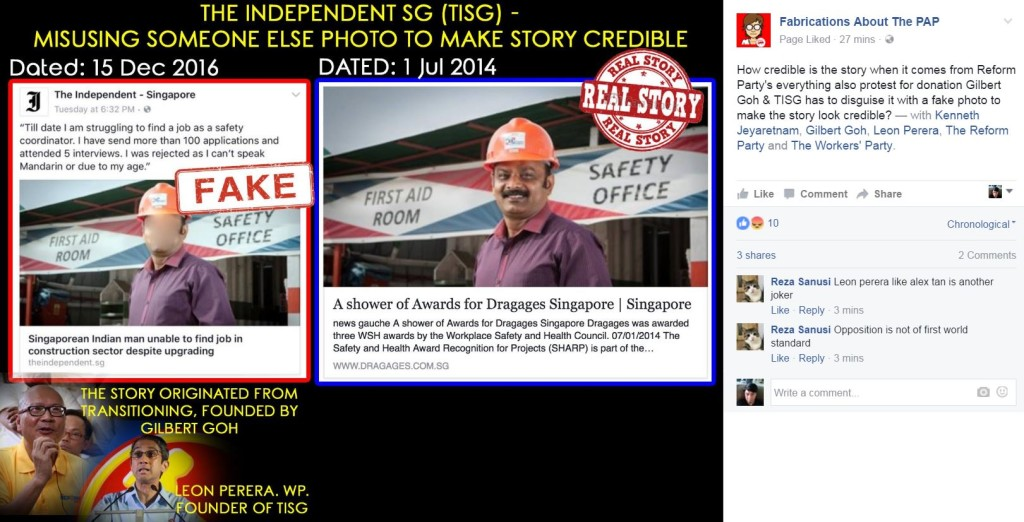 The Independent Singapore caught publishing fake news